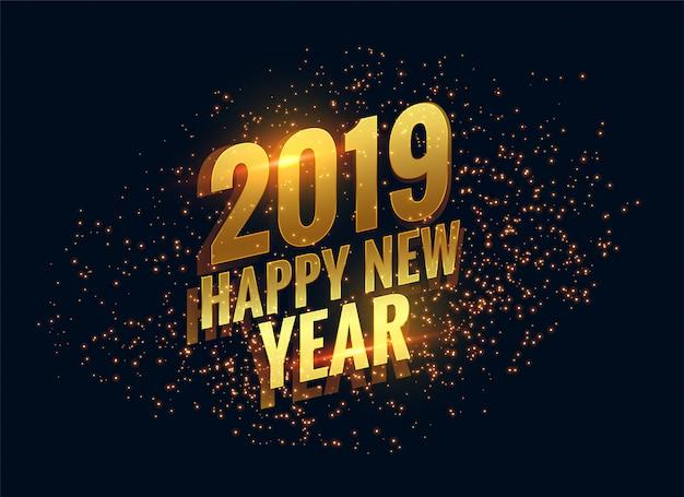 Il buon anno felice 2019 scintilla fondo dorato Vettore gratuito