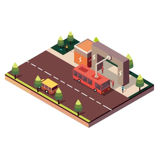Il bus elettrico isometrico alla fermata è caricato dal pantografo Vettore Premium