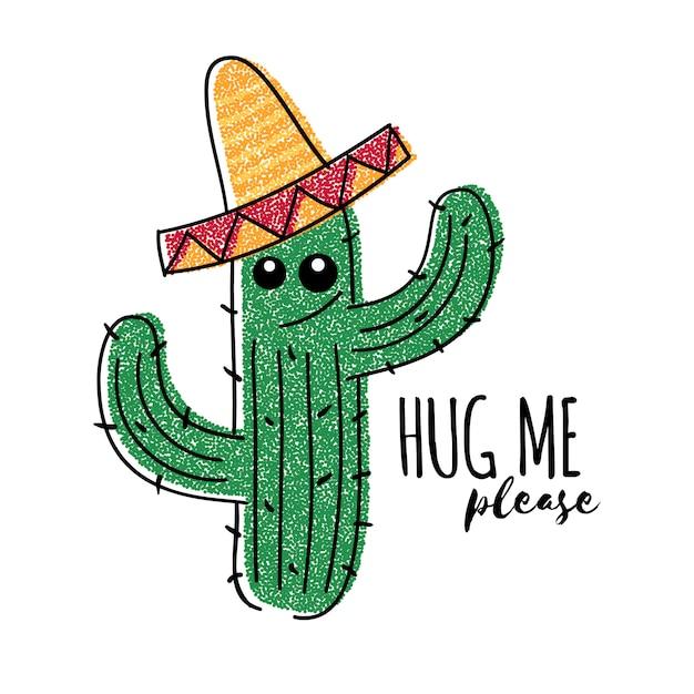 Il cactus messicano di scarabocchio con mi abbraccia per favore iscrizione. stampa di t-shirt vettoriale Vettore Premium