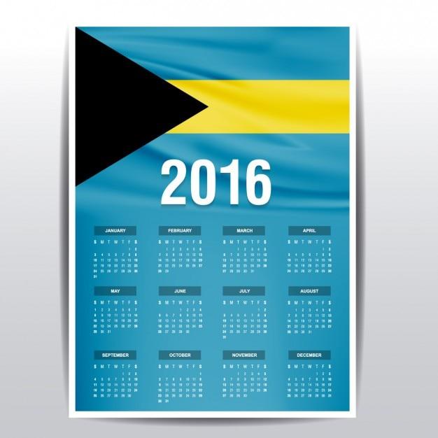 Il calendario bahamas del 2016 Vettore gratuito