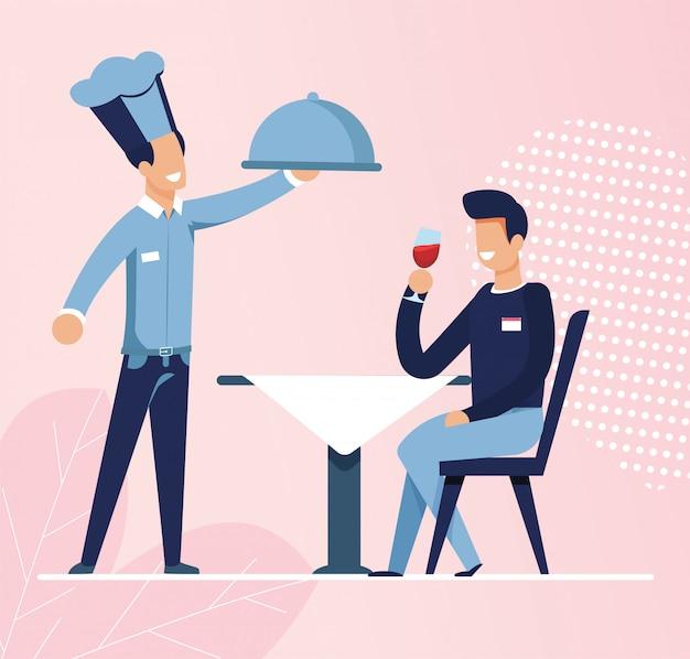Il cameriere ha portato cibo ordinato da young man at cafe Vettore Premium