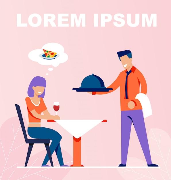 Il cameriere porta l'ordine alimentare per la ragazza seduta al tavolo Vettore Premium