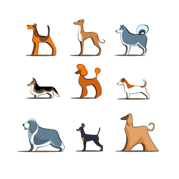 Il cane cresce su fondo isolato, illustrazione doggy differente dei caratteri dell'animale domestico di vettore dei cani Vettore Premium