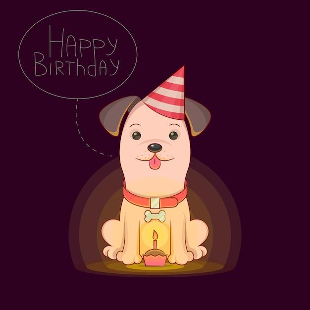 Il Cane Felice Celebra Il Compleanno Illustrazione Vettoriale Sul