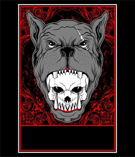 Il cane pitbull mangia l'illustrazione di vettore delle teste del cranio Vettore Premium