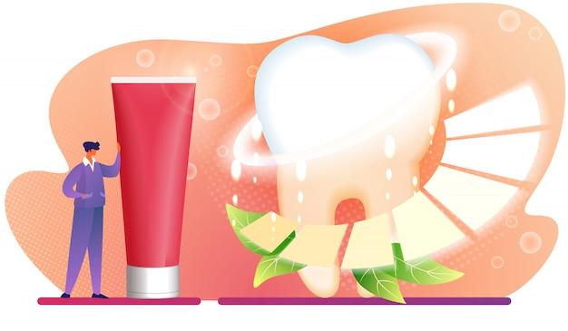 Il carattere dell'uomo si leva in piedi vicino alla metropolitana enorme del dentifricio in pasta rosso. Vettore Premium
