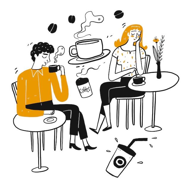 Il carattere di disegno delle persone, pausa caffè. Vettore Premium