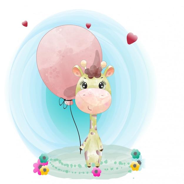 Il carattere sveglio della giraffa del bambino ha dipinto il vettore premio dell'acquerello Vettore Premium
