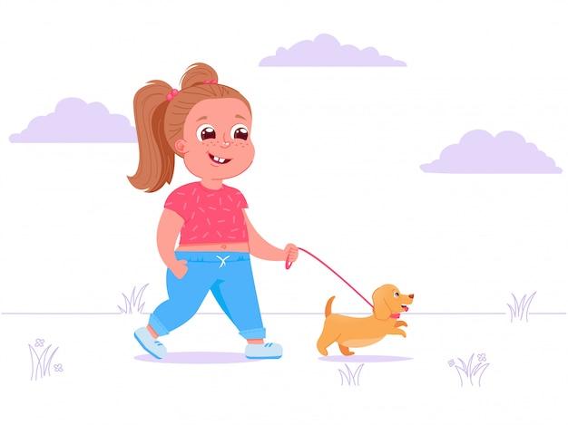 Il carattere sveglio della ragazza del bambino cammina cane Vettore gratuito