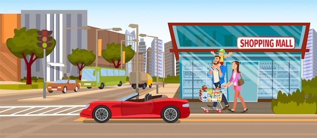 Il centro commerciale di concetto downtown on the road Vettore Premium