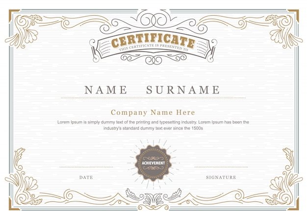 Il certificato di risultato elegante fiorisce l'annata antica della struttura Vettore Premium