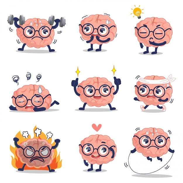 Il cervello carino mostra emozioni e attività che sviluppano cervello sano. Vettore Premium
