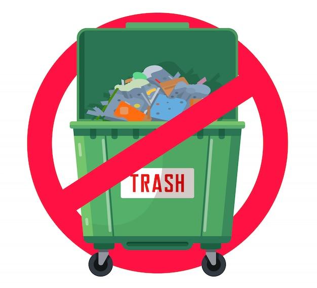 Il cestino può vietare l'illustrazione Vettore Premium