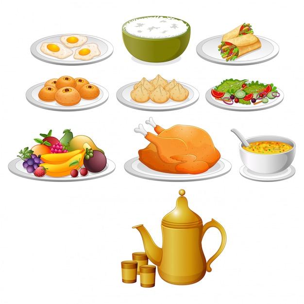 Il cibo delizioso per lo ied mubarak con la diversa variante Vettore Premium