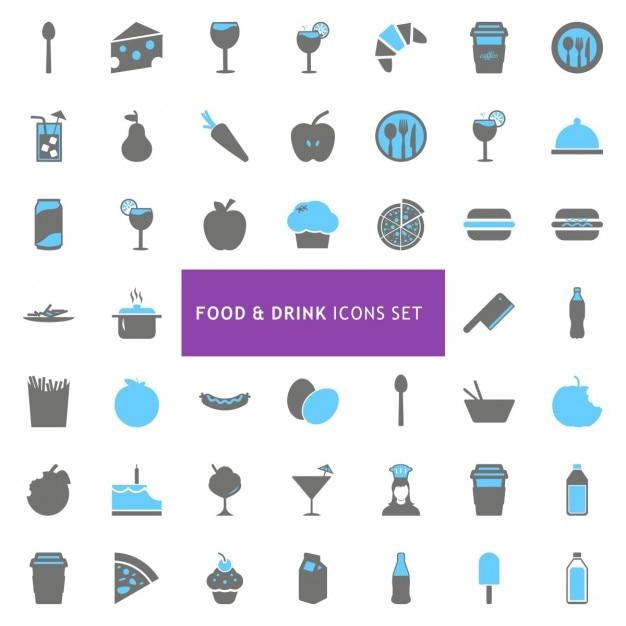 Il cibo e l'icona drink set Vettore gratuito