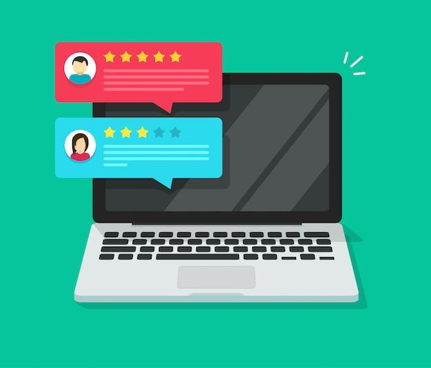Il cliente esamina le testimonianze di valutazione sul computer portatile o sul pc con il fumetto piano dell'illustrazione online dei gradi della reputazione isometrica Vettore Premium