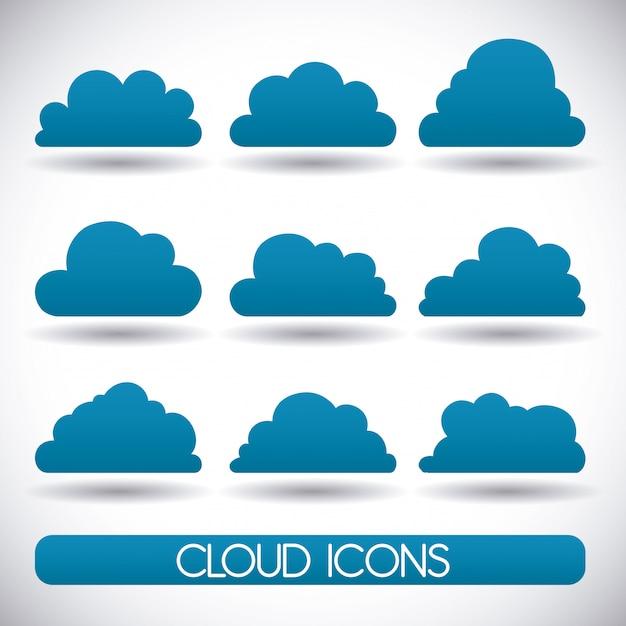 Il cloud computing design, illustrazione vettoriale. Vettore Premium