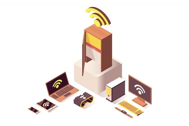 Il cloud computing isometrica rete wireless wifi, archiviazione di database isolato 3d Vettore Premium