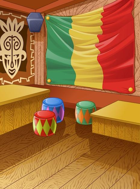 Il club di legno della giamaica è colorato. Vettore Premium