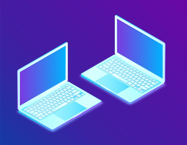 Il computer portatile. computer portatile isometrico 3d. Vettore Premium
