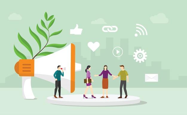 Il concetto corporativo di affari di pubbliche relazioni di pr con la gente del gruppo comunica con i consumatori e l'acquirente con stile piano moderno - vettore Vettore Premium