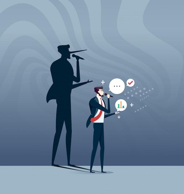 Il concetto del bugiardo, uomo d'affari con l'ombra lunga del naso Vettore Premium