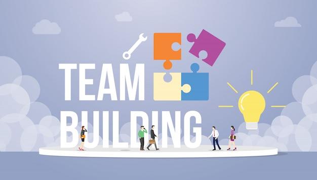Il concetto del team-building con la grande parola elabora e puzzle con la società dell'ufficio della gente della squadra e la lampadina Vettore Premium