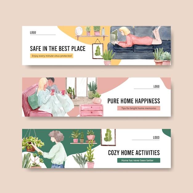 Il concetto dell'insegna di soggiorno a casa con il carattere della gente fa la progettazione dell'acquerello dell'illustrazione di attività, di giardinaggio e di rilassamento Vettore gratuito