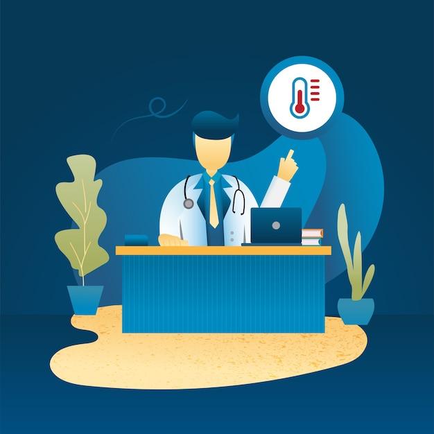 Il concetto di banner online medico e diagnosi Vettore Premium