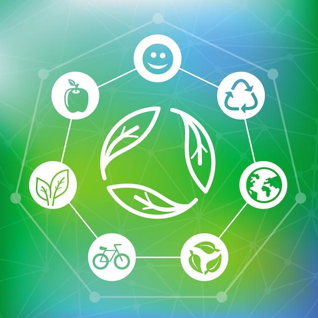 Il concetto di ecologia di vettore con ricicla l'emblema - fondo verde astratto Vettore Premium