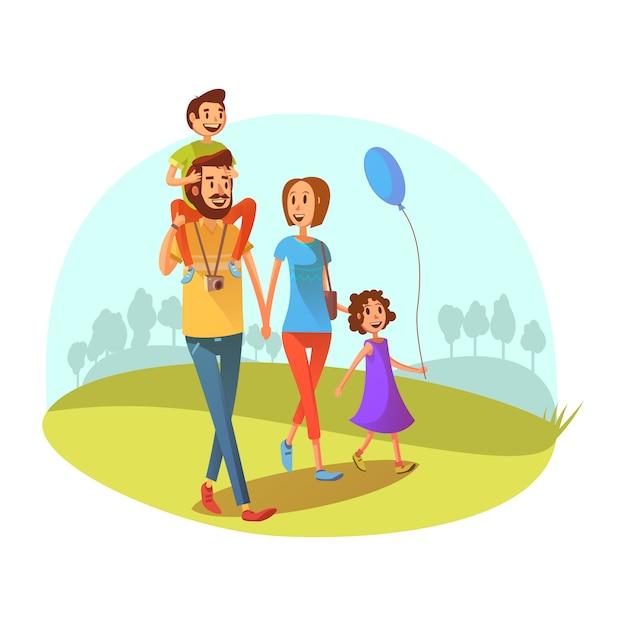 Il concetto di fine settimana della famiglia con i genitori ed i bambini che camminano il fumetto vector l'illustrazione Vettore gratuito