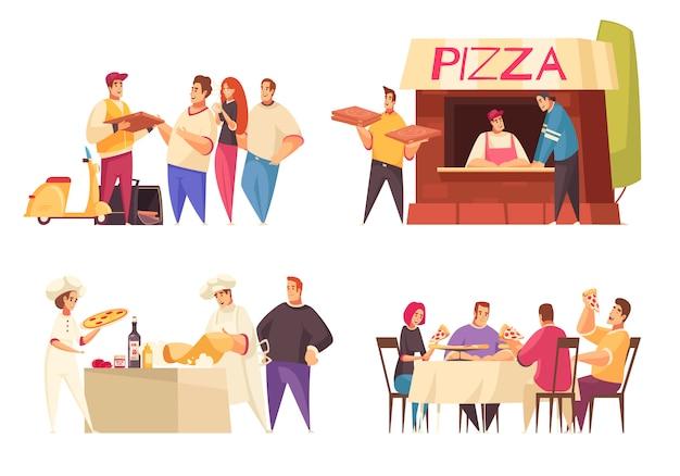 Il concetto di progetto della pizza con il deposito e la famiglia della pizza di consegna della pizza alle descrizioni della tavola di cena vector l'illustrazione Vettore gratuito