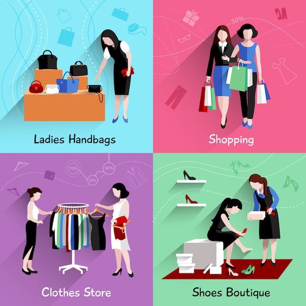 Il concetto di progetto di acquisto della donna ha messo con le icone piane dei depositi dei vestiti e delle scarpe delle borse isolate Vettore gratuito