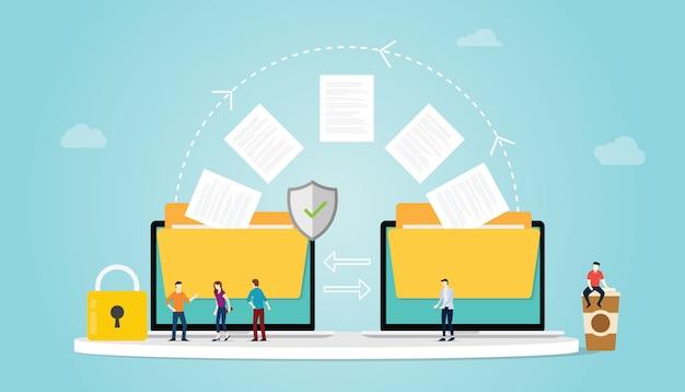 Il concetto di trasferimento file con la cartella e il trasferimento di file si sposta con sicurezza e lucchetto e team di persone con un moderno stile piatto Vettore Premium