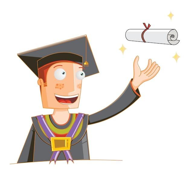 Il concetto di uno studente riceve la laurea Vettore Premium