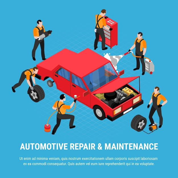 Il concetto isometrico della riparazione automobilistica con manutenzione e gli strumenti dell'attrezzatura vector l'illustrazione Vettore gratuito