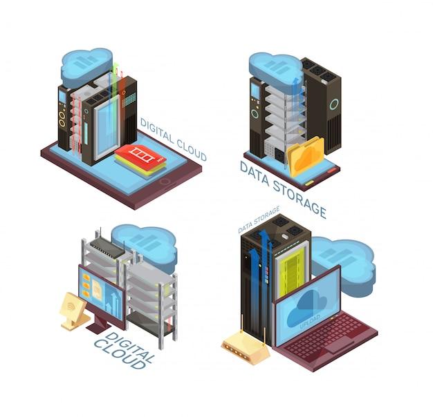Il concetto isometrico di servizio della nuvola di dati con il server di hosting, il trasferimento di informazioni, il computer ed i dispositivi mobili ha isolato l'illustrazione di vettore Vettore gratuito