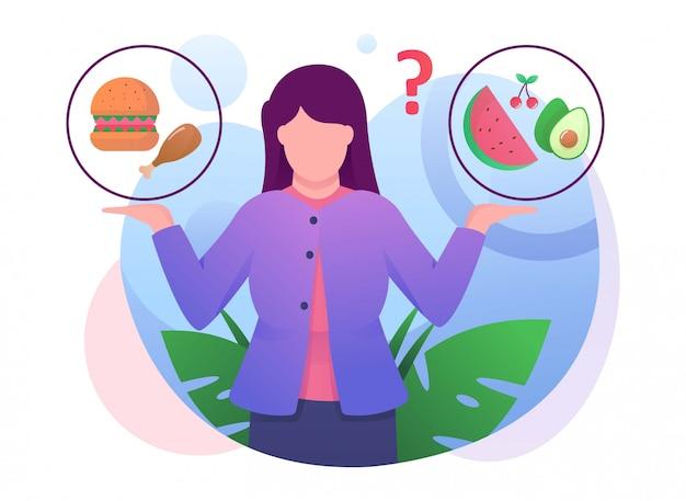 Il consfuse della donna sceglie l'illustrazione dell'alimento Vettore Premium