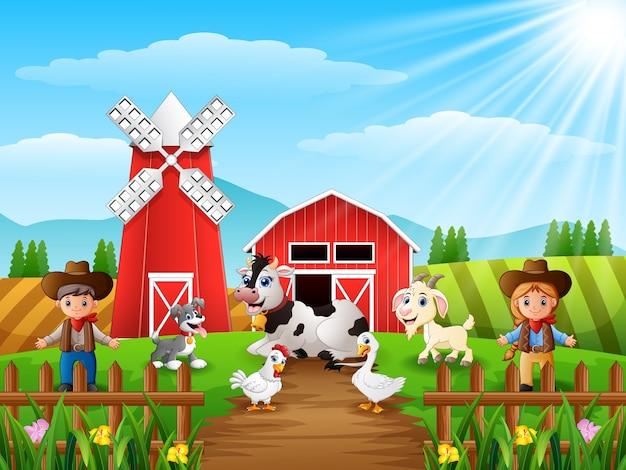 Il cowboy e la cowgirl alla fattoria con gli animali Vettore Premium