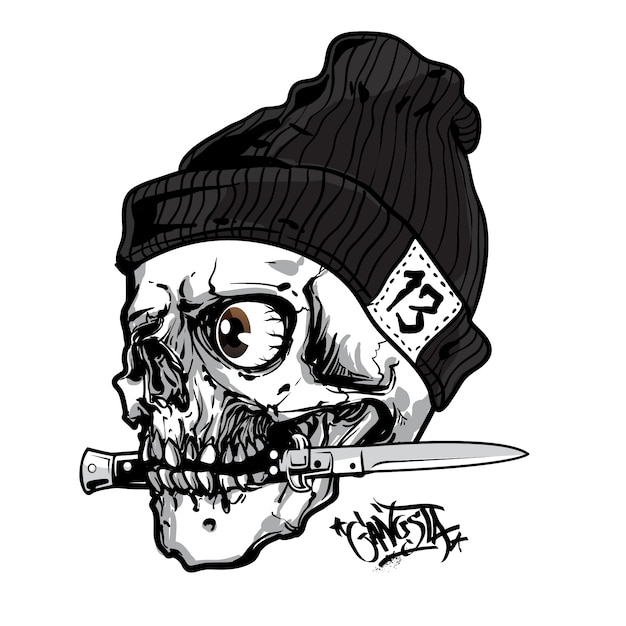Il cranio morde il coltello Vettore Premium