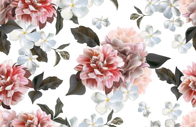 Il crisantemo e l'apocynaceae fioriscono il modello senza cuciture Vettore Premium