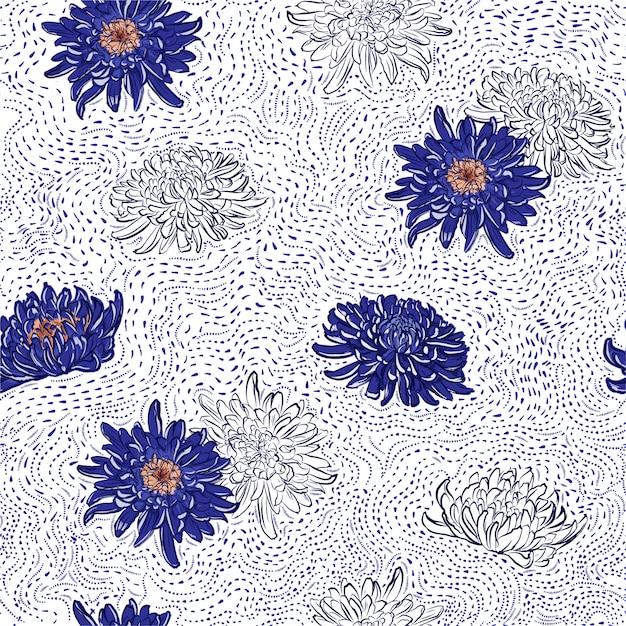 Il crisantemo giapponese blu di fioritura fiorisce la linea disegnata a mano illustrazione senza cuciture del modello della spazzola dei pois. Vettore Premium