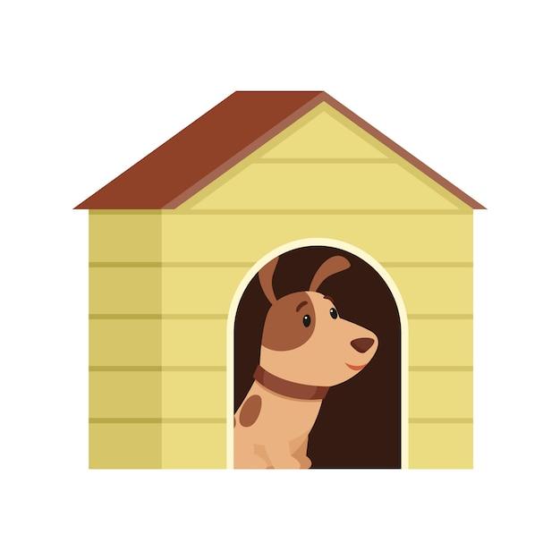 Il cucciolo è seduto in una cuccia. Vettore Premium