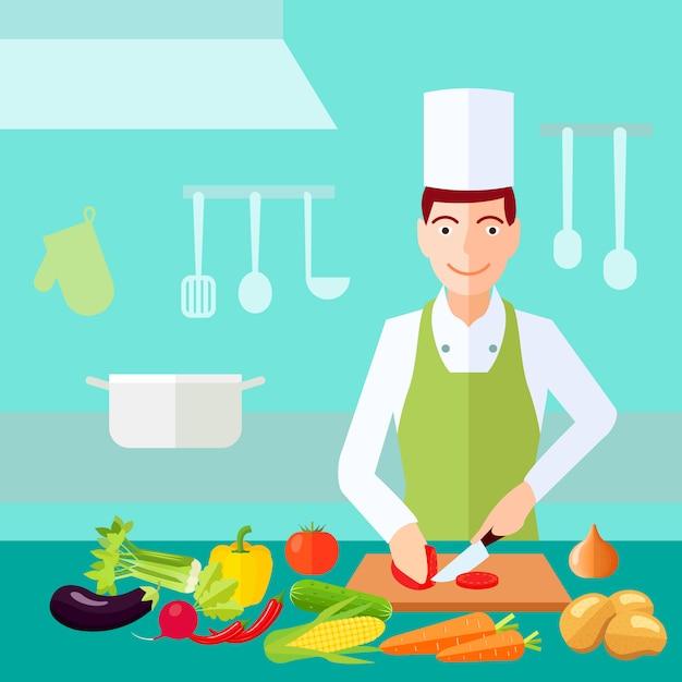 Il cuoco di processo di cottura ha tagliato il pomodoro con molta di verdure sulla tavola Vettore gratuito