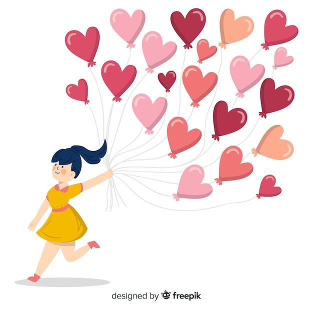 Il cuore della tenuta della ragazza balloons la priorità bassa Vettore gratuito