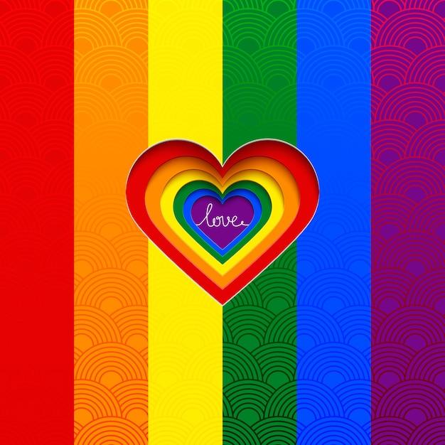 Il cuore di vettore dell'arcobaleno celebra l'uguaglianza di amore Vettore Premium