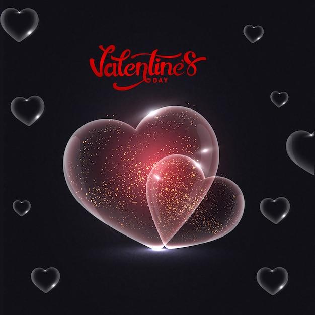 Il cuore trasparente brillante modella su fondo nero con alla moda Vettore Premium