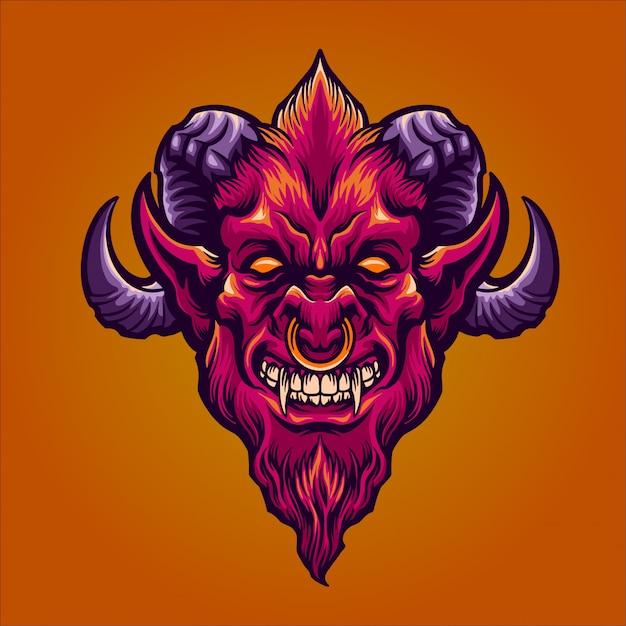 Il demone rosso Vettore Premium