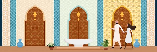 Il design degli interni in stile arabo turco o indiano soggiorno in stile orientale Vettore Premium