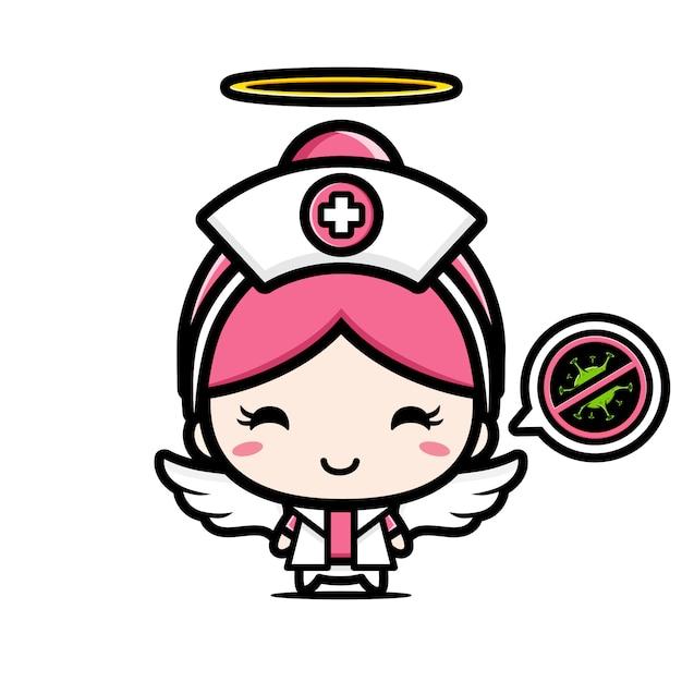 Il design dell'infermiera è un angelo con un simbolo di stop virus Vettore Premium